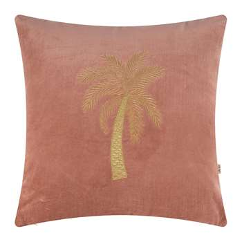 À la - Velvet Palm Tree Cushion Cover - Dusty Pink (H45 x W45cm)