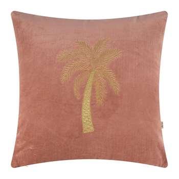 À la - Velvet Palm Tree Cushion Cover - Dusty Pink (H45 x W45cm)