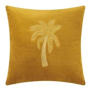À la - Velvet Palm Tree Cushion Cover - Gold (H45 x W45cm)