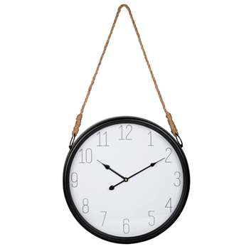 LACANAU - Metal and Cord Hanging Clock (H45 x W45 x D6cm)