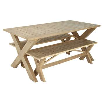 LACANAU Wooden garden table + 2 benches (77 x 180cm)