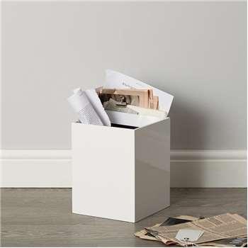 Lacquer Waste Paper Bin, White (27 x 21cm)