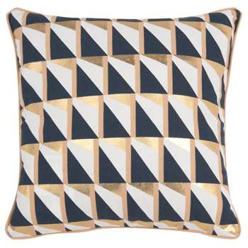 LAETITIA - Blue and Ecru Cotton Cushion Cover with Graphic Print (H40 x W40cm)