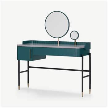 Lali Dressing Table, Teal & Brass (H130 x W117 x D48cm)