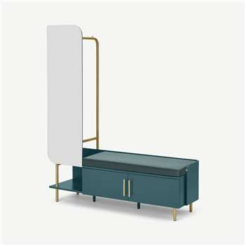 Lali Hallway Stand, Teal & Marine Green Velvet (H170 x W140 x D40cm)