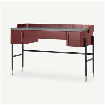 Lali Wide Desk, Mid Grey & Mahogany Red (H80 x W127 x D48cm)