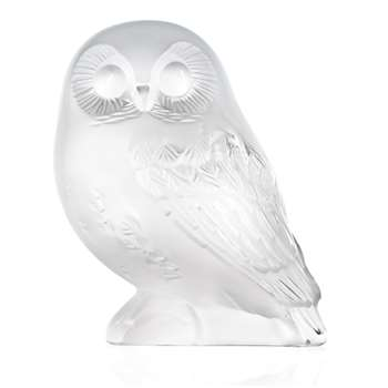 Lalique - Clear Shivers Owl Figure (8.3 x 7.2cm)