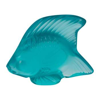 Lalique - Fish Figure - Light Turquoise (Height 4.5cm)
