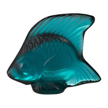 Lalique - Fish Figure - Turquoise (Height 4.5cm)