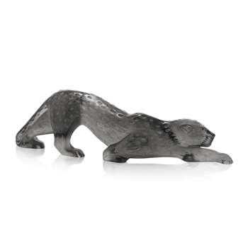 Lalique - Zeila Panther Sculpture - Grey - Large (Width 36.5cm)