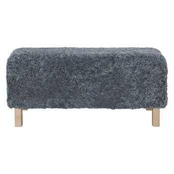 Lamba Grey sheepskin bench (Width 90cm)