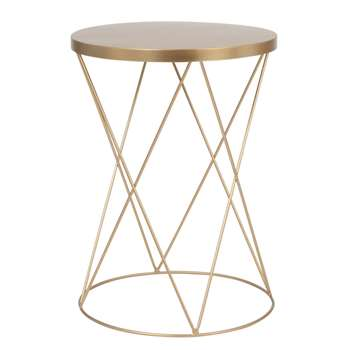 LAMBERTO Round Matt Gold Metal Side Table (H49 x W35 x D35cm)