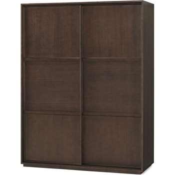 Langdon 150cm Sliding Wardrobe, Walnut (H195 x W150 x D58cm)