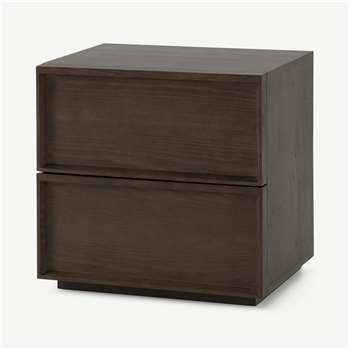 Langdon Bedside Table, Dark Stain Ash (H53 x W53 x D40cm)
