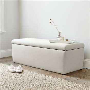 Langley Cotton Ottoman, Silver Cotton (H50 x W140 x D50cm)