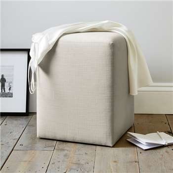 Langley Cotton Stool, Silver Cotton (47 x 37cm)