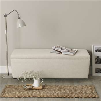 Langley Linen Union Ottoman, Natural Linen Union (H50 x W140 x D50cm)