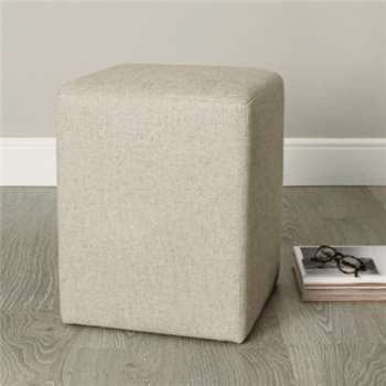 Langley Linen Union Stool, Natural Linen Union (47 x 37cm)