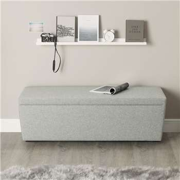 Langley Wool Ottoman, Light Grey Wool (H50 x W140 x D50cm)