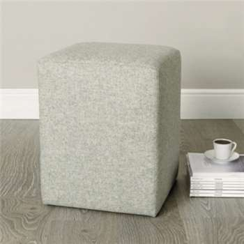 Langley Wool Stool, Light Grey Wool (47 x 37cm)