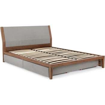 Lansdowne Double Bed With Storage, Walnut and Heron Grey (95 x 213 x 150cm)