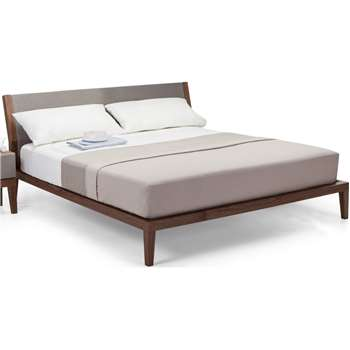 Lansdowne Kingsize Bed, Walnut And Heron Grey (95 x 223 x 165cm)