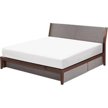 Lansdowne Kingsize Bed With Storage, Walnut and Heron Grey (95 x 165cm)