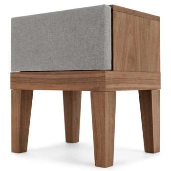 Lansdowne Upholstered Bedside Table, Walnut and Heron Grey (51 x 45cm)