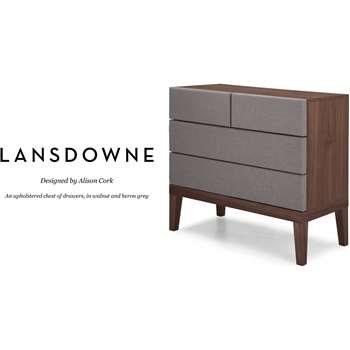 Lansdowne Upholstered Chest of Drawers, Walnut and Heron Grey (93 x 100cm)