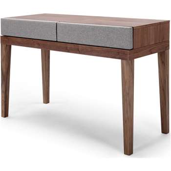 Lansdowne Upholstered Dressing Table, Walnut and Heron Grey (80 x 120cm)