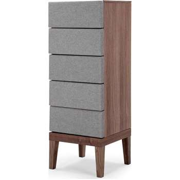 Lansdowne Upholstered Tall Chest, Walnut and Heron Grey (135 x 50cm)