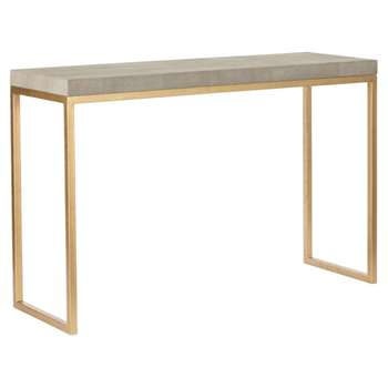 Lantau Faux Shagreen and Gold Console Table - Taupe (78 x 120cm)