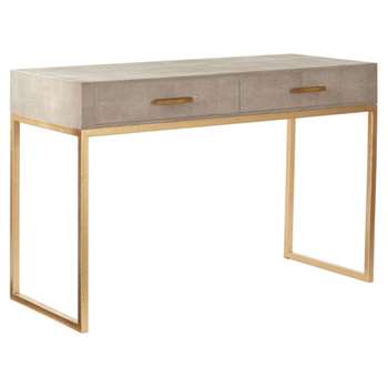 Lantau Faux Shagreen and Gold Dressing Table - Taupe (78 x 120cm)
