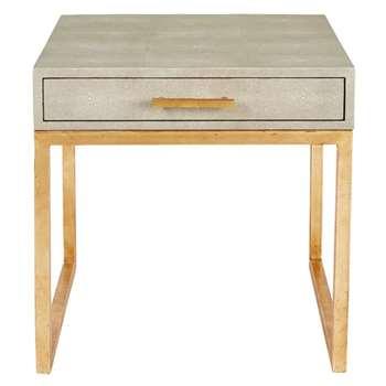 Lantau Faux Shagreen Bedside Table (H51 x W54 x D51cm)