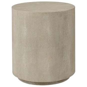 Lantau Faux Shagreen Drum Table - Taupe (45 x 40cm)