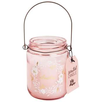 Lantern Candle in Pink Tinted Glass Holder (9 x 6.5cm)