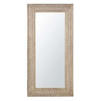 LAOS - Whitewashed Carved Mirror (H183 x W91 x D3.5cm)