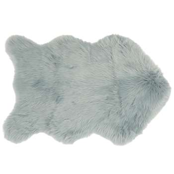 LAPON Blue Grey Faux Fur Rug (H60 x W90cm)