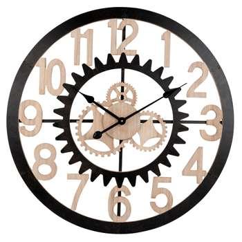 LAREDO - Black Metal Cog Clock D70 (H70 x W70 x D4.5cm)