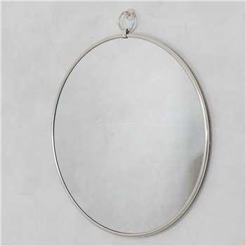 Large Antique Silver Pendant Mirror (H100 x W92 x D2.5cm)