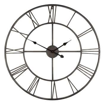 Large Distressed Indoor Metal Clock (Diameter 78cm)
