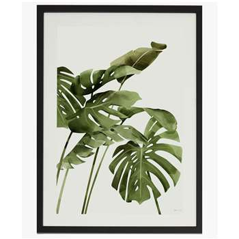 Large Framed Tropical Leaf Print - White (70 x 50cm)
