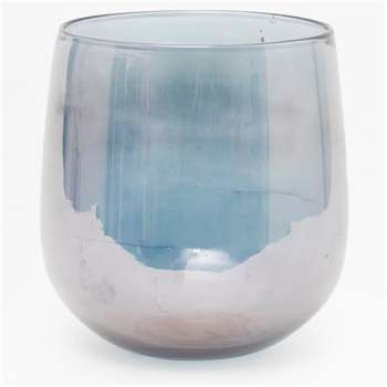 Large Lustred Glass Vase - Blue (H24 x W23 x D23cm)
