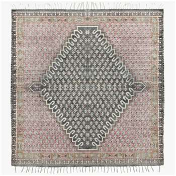 Large Poppy Field Rug - Pink And Grey (H180 x W180cm)