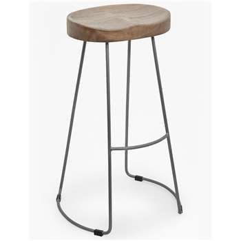 Large Roger Bar Stool - Salvage Grey (H76 x W45 x D34cm)