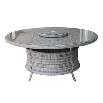 Large Round Rattan Garden Dining Table with Lazy Susan in Grey (73 x 160cm)
