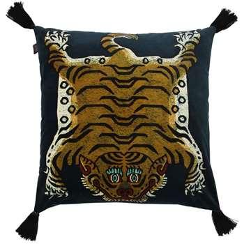 House of Hackney - Large Saber Cotton Velvet Accent Pillow, Black (60 x 60cm)