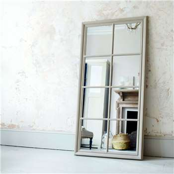 Large Taupe Window Pane Mirror (H154 x W74cm)
