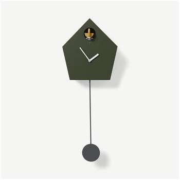 Lark Cuckoo & Pendulum Clock, Green (H63 x W24 x D11cm)