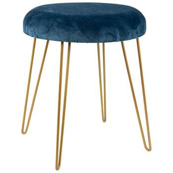LAROCHELLE Navy Blue Stool with Gold Metal Legs (H42 x W35 x D35cm)